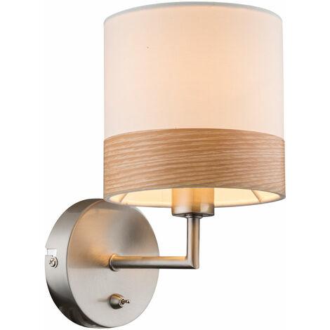 """main image of """"Applique bois design salon salle à manger éclairage lampe textile beige marron Globo 15221W"""""""