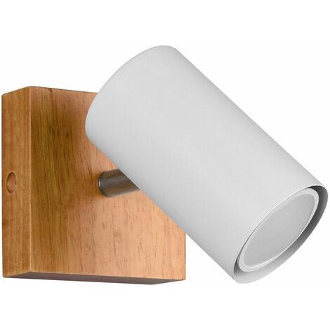 """main image of """"Applique, bois naturel, spot, plafonnier, éclairage de salon orientable, blanc mat"""""""