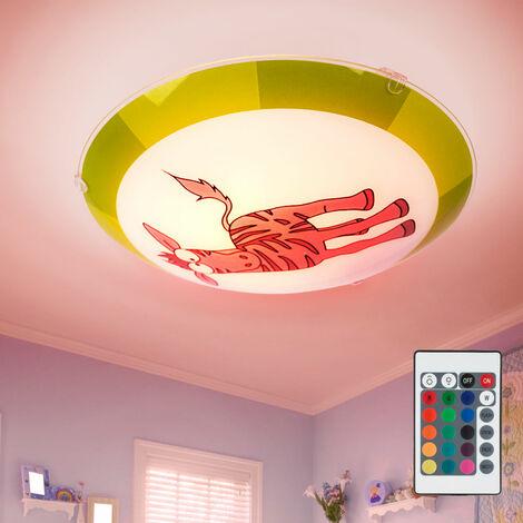 Applique chambre d'enfant Luminiare jeune Zebra verre Télécommande gris vert dans l'ensemble LED RGB