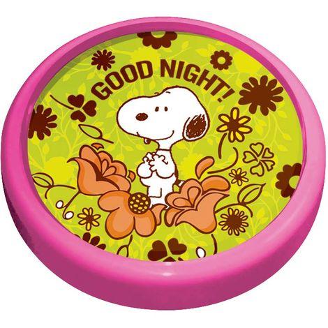Applique chambre enfants luminaire mural rond Snoopy Good night fleurs rose vert