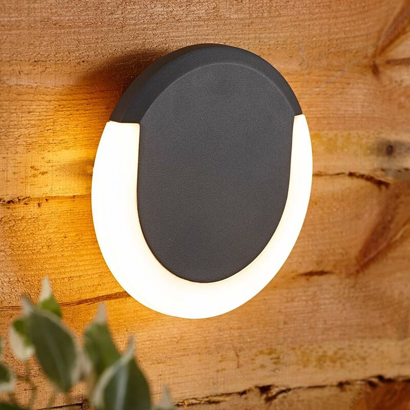 Crescent Halo Applique Circolare per Pareti Esterne con LED da 13W - Grigio - BIARD
