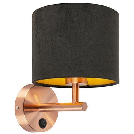 Applique Classique cuivre avec abat-jour en velours noir - Matt Qazqa Moderne Luminaire interieur Rond