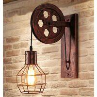 Applique Creative style industriel rétro lampe de mur Loft style levage poulie lumière canal couloir mur lampe?Rouille rouge