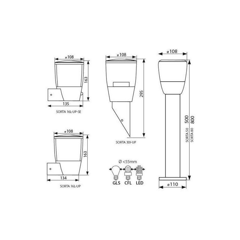 Kanlux - Applique da Giardino Luce da Esterno per E27 - IP44 - SORTA 16L-UP-4037