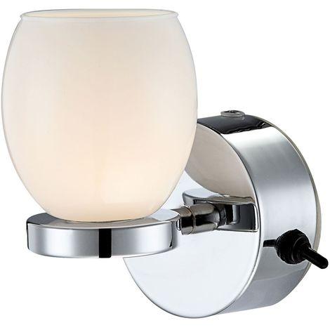 Luminaire Lampe Led Verre Opale Ip44 Mural Applique Del Éclairage Chrome 3 Watts Y7fb6gyv