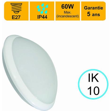 Applique d'exterieur Hublot E27 rond IP44 IK10