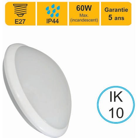 Applique d'exterieur Hublot E27 rond IP44 IK10 - garantie 5 ans