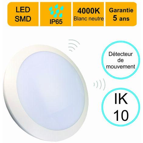 Applique d'exterieur Hublot LED rond 16W 1200 LM 4000K IP66 IK10 avec detecteur de mouvement - garantie 5 ans