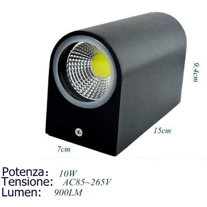 Applique doppio led 10w nero lampada luce fredda parete up down faretto esterno - DRIWEI