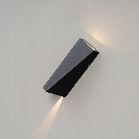 Applique double faisceau LED noir IP54 - Helsinki