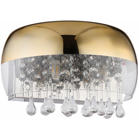 Applique en verre cristal luminaire en laiton doré éclairage de salon mat
