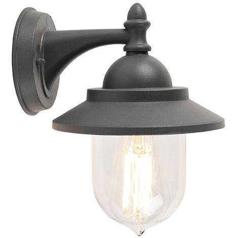 Applique extérieure romantique Graphite / Antracite / Gris Foncé - Oxford Qazqa Classique/Antique, Rustique Luminaire exterieur IP44 Globe Rond