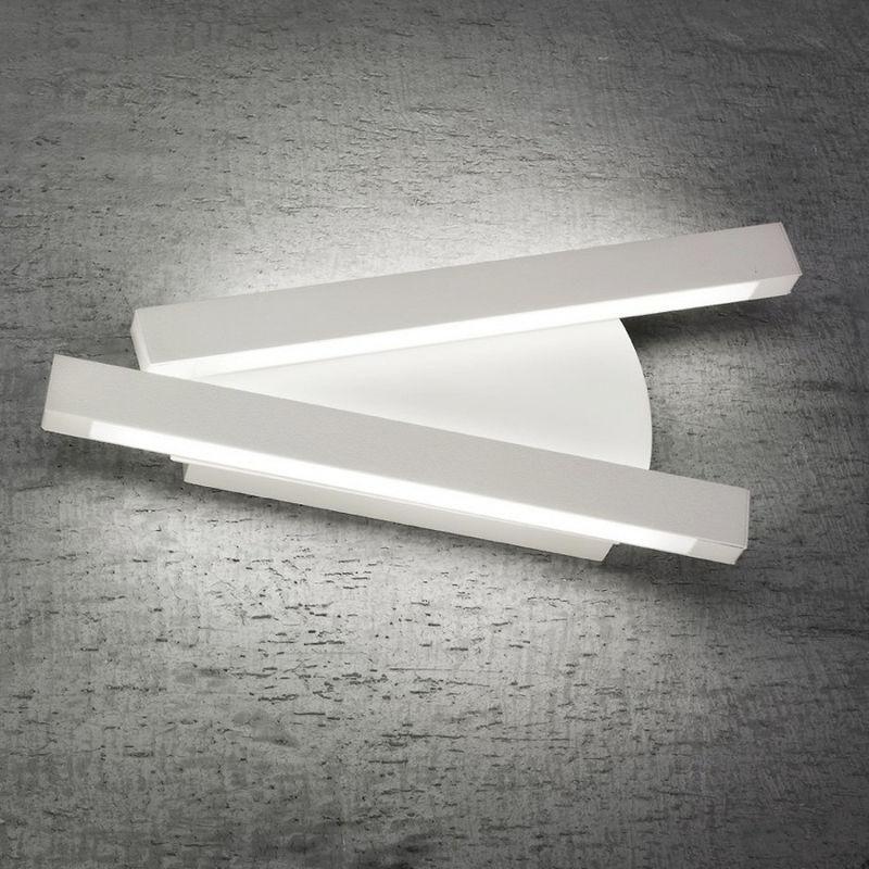 Fratelli Braga - Applique fb-elle 2089 a2 22w led 2000lm bianco metallo lampada parete moderna interno