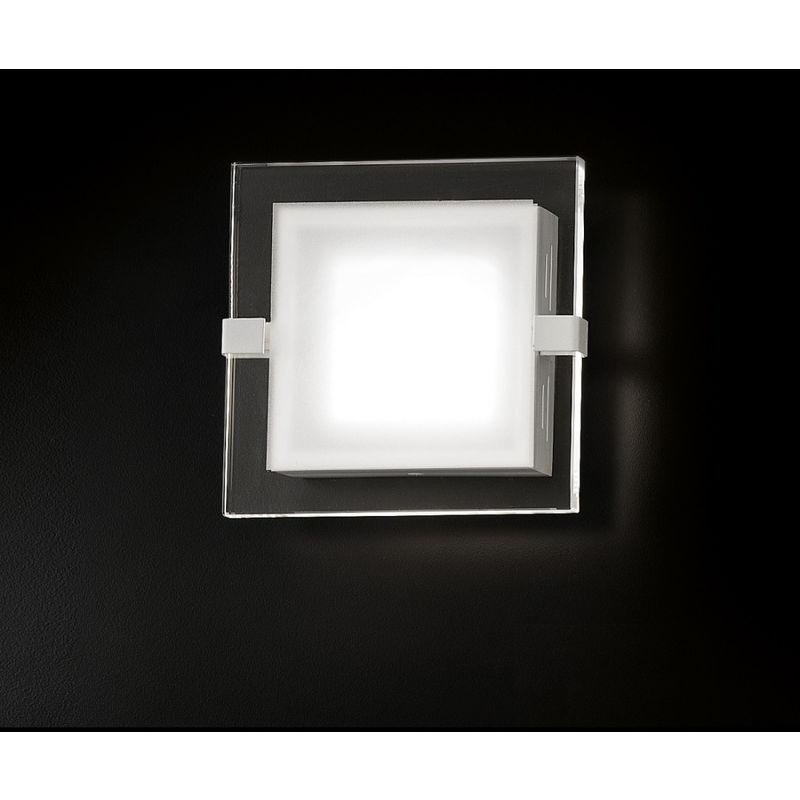 Fratelli Braga - Applique fb-square 2041 a1 7.5w led 750lm vetro satinato trasparente quadrata lampada parete moderna interno, tonalità luce 3000°k