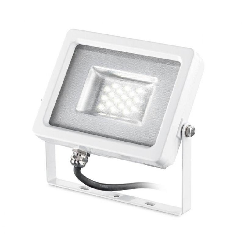 Proiettore alluminio ges431 modulo led ip65 lampada terra parete soffitto orientabile bianco lucido esterni 20w 1700lm, tonalità luce 4000°k (luce