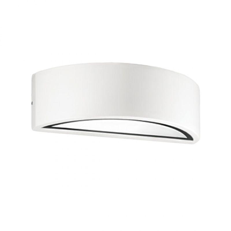 Applique alluminio ges650 ges651 led lampada parete biemissione monoemissione fascia moderna esterni e27 ip54, finitura metallo bianco - Gea Led