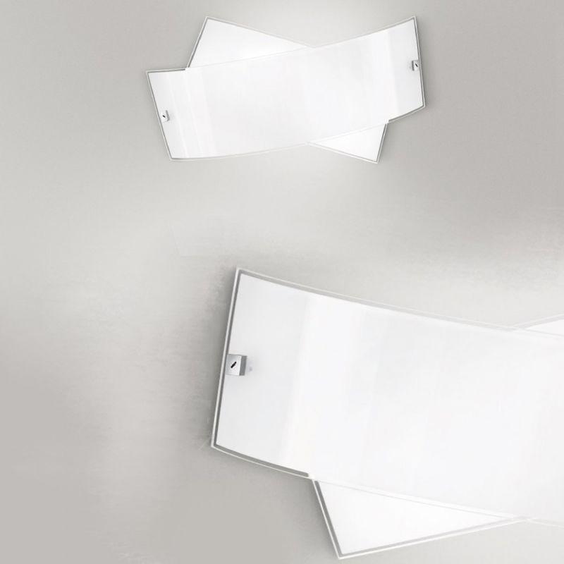 Applique ge-penelope ap 34cm e14 led vetro bianco lucido lampada parete moderna interno