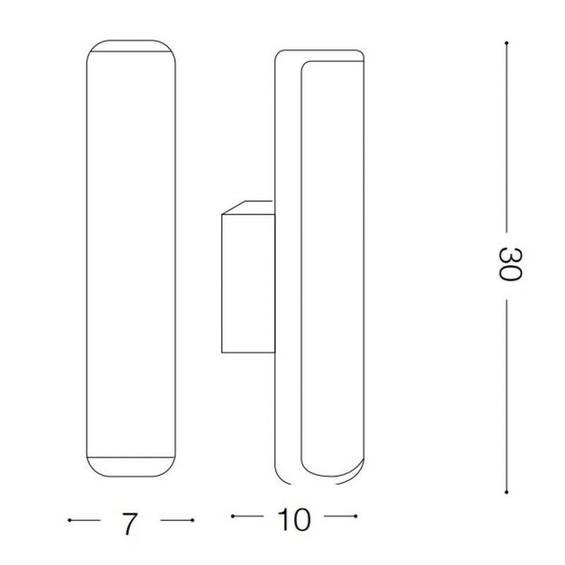Applique id etere ap w led lm ip alluminio antracite