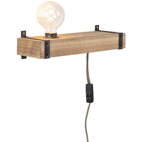 "main image of ""Applique industrielle bois USB - Reena Qazqa Industriel Luminaire interieur"""