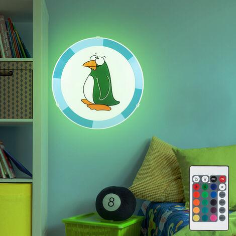 Applique jeunesse Chambre d'enfant Pingouin Télécommande Luminaire acier dans l'ensemble LED RGB