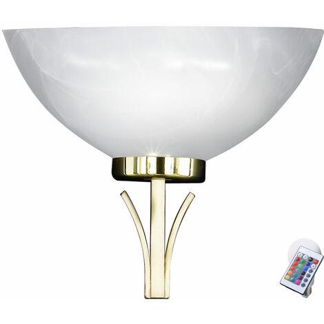 Applique laiton DIMMER télécommande hall lampe albâtre verre dans l'ensemble y compris les ampoules LED RGB