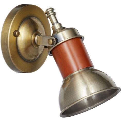 Applique Lampe murale laiton Luminaire mur métal, applique flexible, HlP 17,5 x 12 x 15 cm, brun