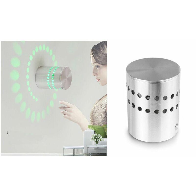 Applique led 1w in metallo luce spirale verde parete faretto per interno