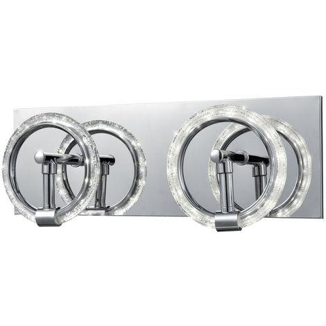 Applique LED, miroir chromé, anneaux de bulles, L 35 cm CURL