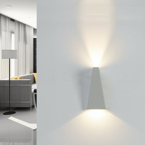 Applique LED Murale 10W IP44 Double Faisceaux BLANC - Blanc Neutre 4000K - 5500K - SILAMP