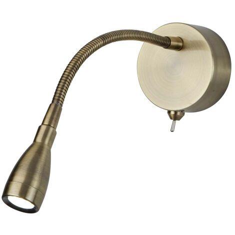 Applique LED réglable 0.5W, liseuse LED, laiton antique 6500K 30 lumens