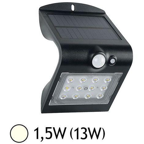 Applique LED SOLAIRE 1.5W (13W) IP65 Blanc jour 4000°K Noire + Détecteur