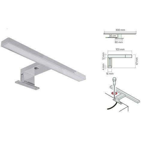 IP44 certificato APPLIQUE LED specchio bagno WATERPROOF Cromo Lucido, 60cm - 4000/° K Modello 30cm e 60cm Lampada da Specchio a LED per Bagno.