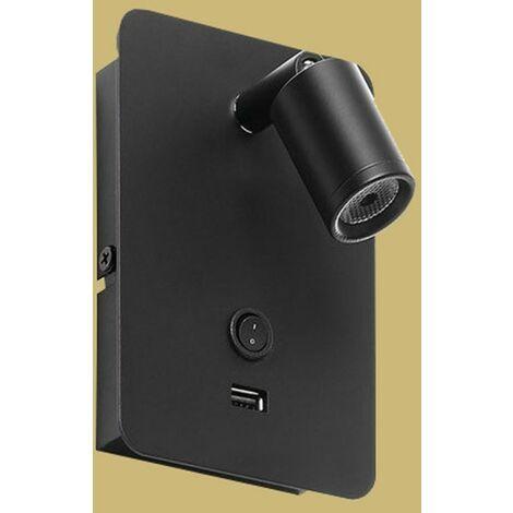 Applique liseuse noire LED Tête de lit Livia avec Port USB - Noir