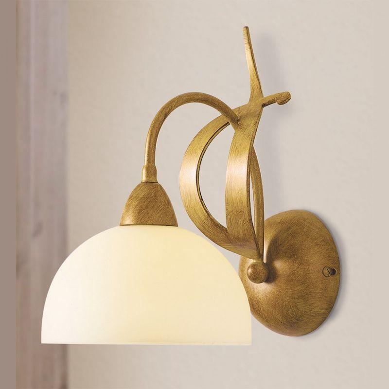Applique lm-1720 1a e14 led metallo ottone fiammato vetro crema pada parete classica interno - LAM