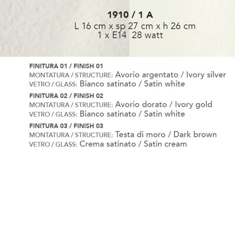 Applique classico 1910 e27 led pada parete, vetro bianco satinato, finitura metallo avorio dorato - LAM