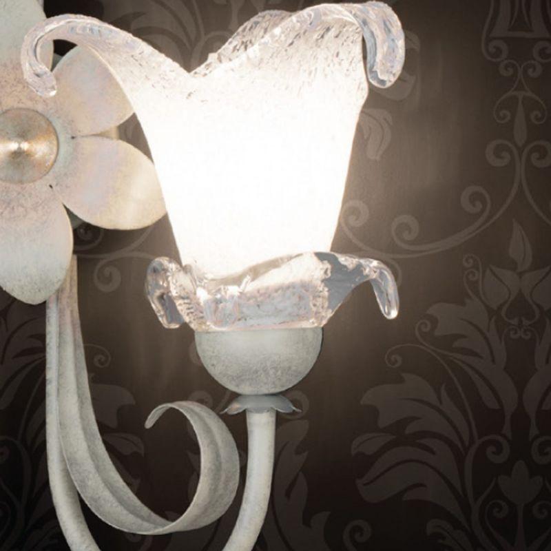 Applique lm-3850 1a e14 led classica metallo avorio foglia oro argento vetro lampada parete floreale interni, finitura metallo avorio rialto