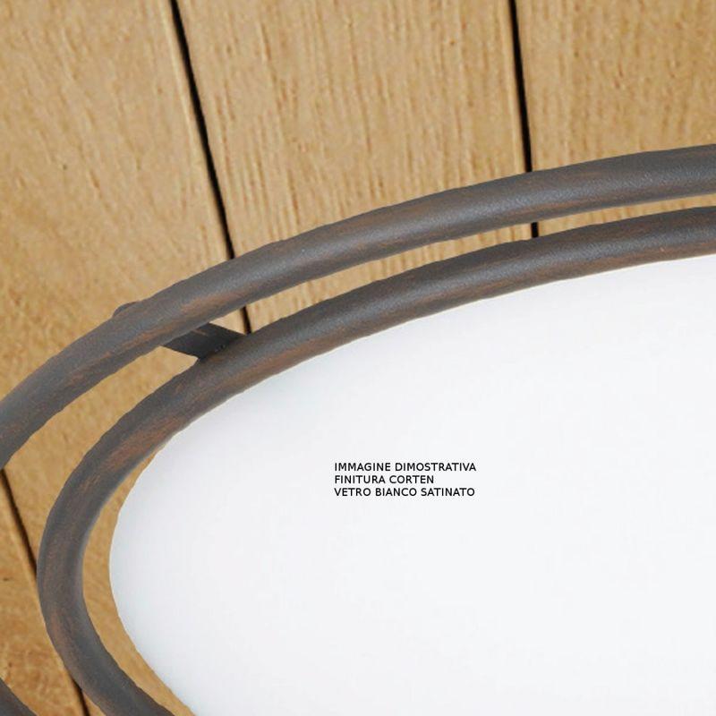 Applique lm-6900 1 ag e27 led classica vaschetta vetro satinato pada parete interni, finitura metallo corten, vetro bianco satinato - LAM