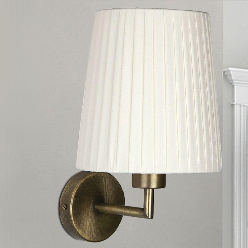 Applique lm 6986 e27 led classico metallo paralume tessuto plissettato lampada parete interno