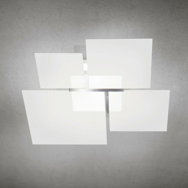 Applique lm-quadrifoglio 8050 2a 36x36cm e27 led moderno vetro bianco satinato lampada soffitto parete quadrata interni, finitura metallo acciaio