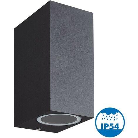 """main image of """"Applique MANATHAN Noir extérieure Rectangulaire double faisceau GU10 IP54"""""""
