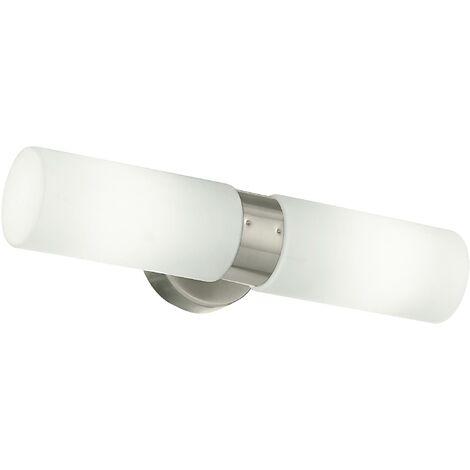 Lampade Sopra Specchio Bagno.Applique Metallo Nikel Diffusori Cilindrici Vetro Lampada Sopra