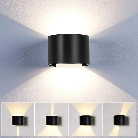 Applique Mural Interieur 12w Led Noir Lampe Murale Moderne Up And Down Design Pour Couloir Escalier Salon Blanc Chaud