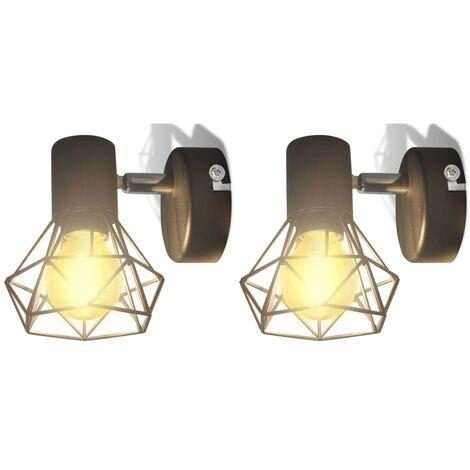 Applique murale 2 pcs Style industriel Noir avec ampoule LED
