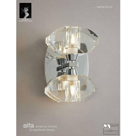 Applique murale Alfa avec interrupteur 2 Ampoules G9, chrome poli