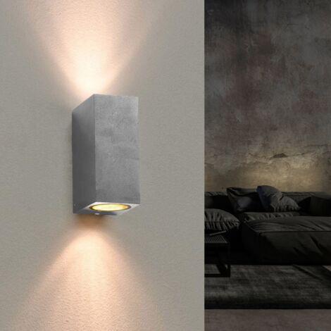 Applique Murale Argent LED Carrée IP44 double faisceau GU10