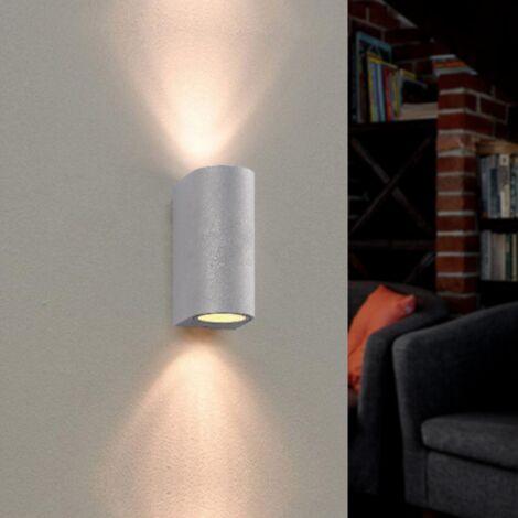 Applique Murale Argent LED IP44 double faisceau GU10