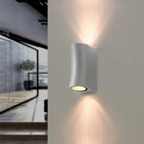 Applique Murale Argent LED IP44 pour 2 ampoules GU10