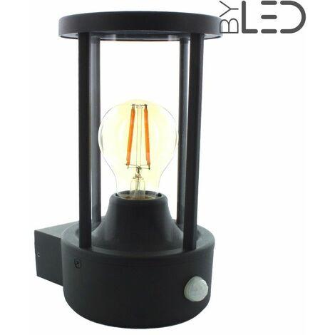 Applique murale avec détecteur de mouvement d'extérieur 360° pour ampoule LED (tradi) | Finition Anthracite - Détecteur de présence Avec détecteur - Puissance (en Watts) -ampoule- - Température de couleur (ampoules)
