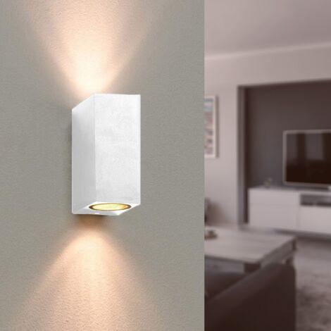Applique Murale Blanche LED Carrée IP44 double faisceau GU10