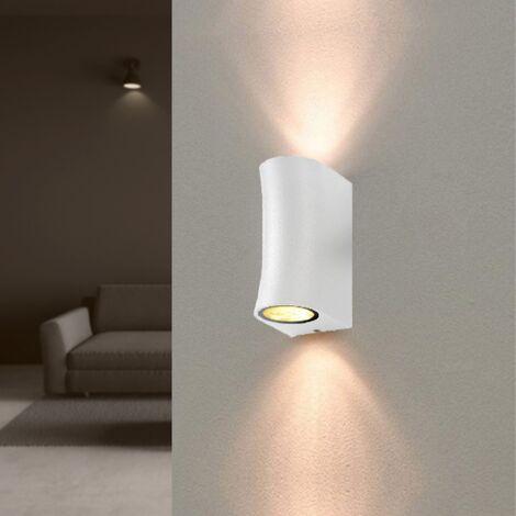 Applique Murale Blanche LED IP44 pour 2 ampoules GU10